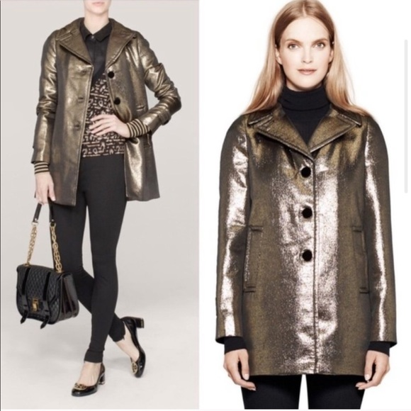 NWOT Tory Burch Metallic Brandy Gold Bronze Coat